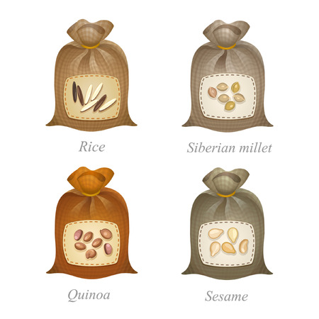 millet: Tied sacks with rice, siberian millet, quinoa, sesame icons and names under them