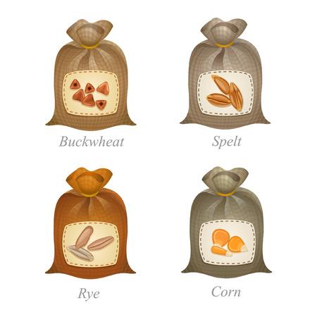 ソバ、スペルト小麦、ライ麦、トウモロコシのアイコンと名前それらの下の袋を縛ら