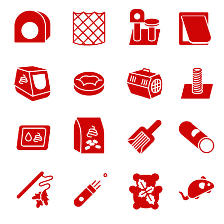 Cat care items as glyph icons