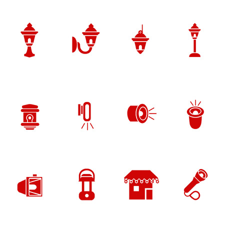 Types of lighting for outdoor use as glyph icons Vettoriali
