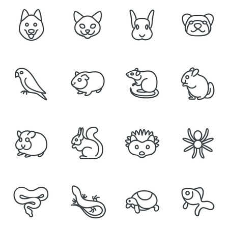 aquarium hobby: The most popular pets as line icons