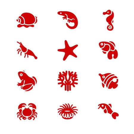 terrarium: The most popular aquarium inhabitants as glyph icons