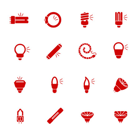 Types of light bulbs for different types of lightings as glyph icons