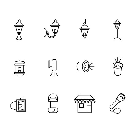 Types of lighting for outdoor use as line icons
