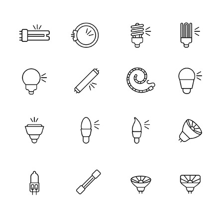 sconce: Types of light bulbs for different types of lighting as line icons