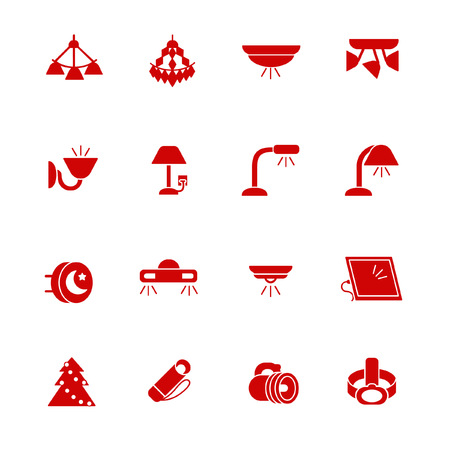 Types of lighting for indoor use as glyph icons