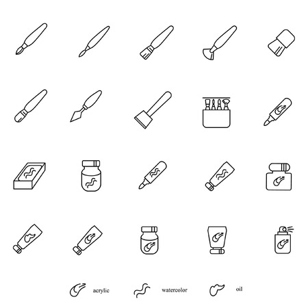 fluent: Stuff for painting as line icons Illustration