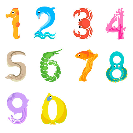 Numbers like sea inhabitants in cartoon style