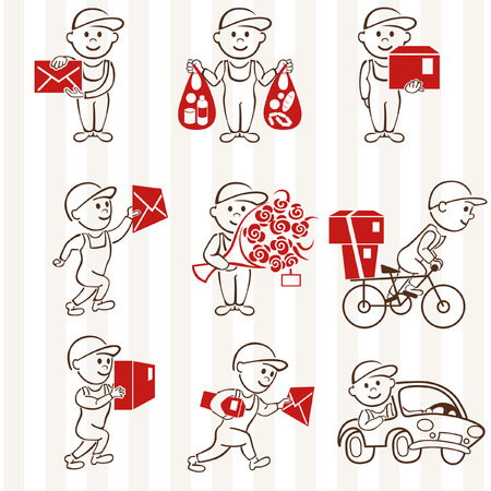 delivery icon: Courier with boxes and vehicles two coloring line icons set