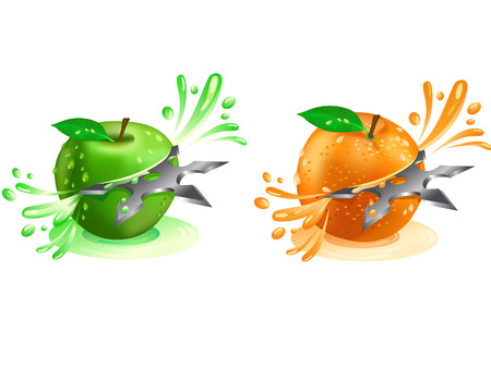 Juice squirting out of shuriken cut fruit Illustration