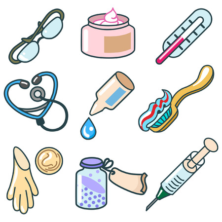 sedative: medicines and pharmaceutical products icon set Illustration