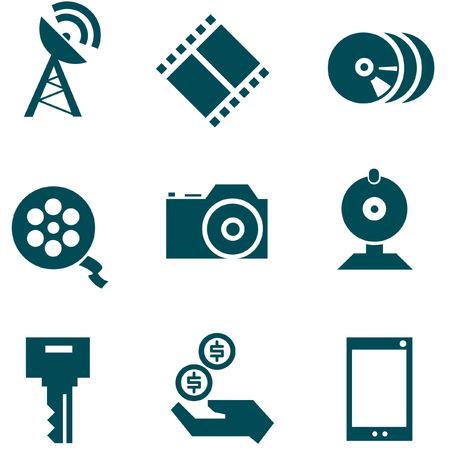 journalistic: Media technologies icons set Illustration