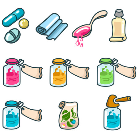 unguent: medicines and pharmaceutical products icon set Illustration