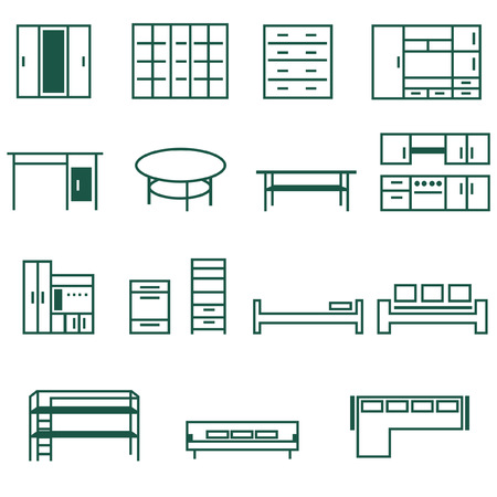 bunk bed: Furniture for home and office icon set Illustration