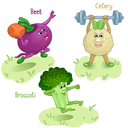 named person: Vegetables as beet, celery and broccoli engage in sports