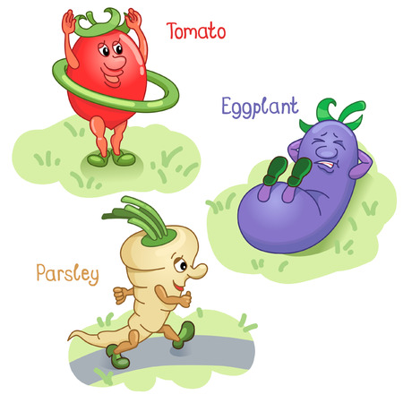 named person: Vegetables as tomato, egg-plant and parsley engage in sports Illustration