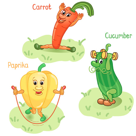 Vegetables as carrot, cucumber and paprika engage in sports