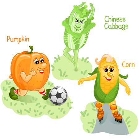 named person: Vegetables as pumpkin, corn and cabbage engage in sports