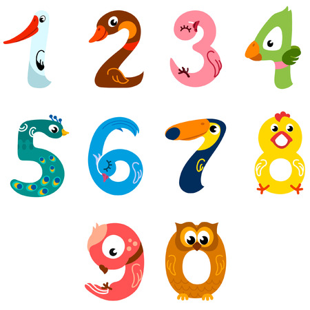 Numbers like birds in cartoon style
