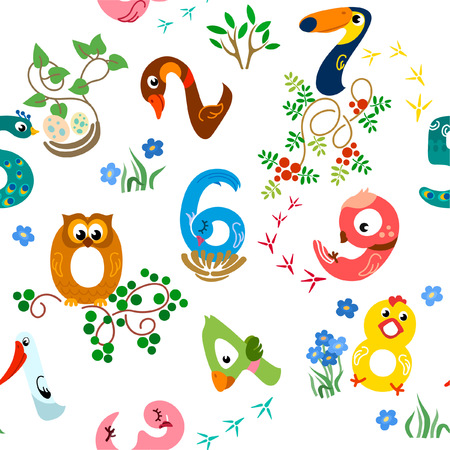 Numbers like birds seamless pattern