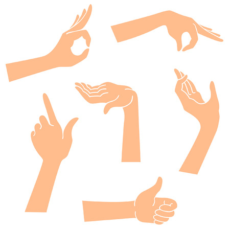 flirt: Hands icons in a realistic poses