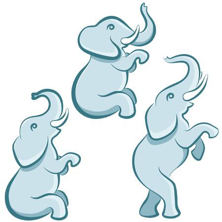 tusk: cartoon elephant in various poses