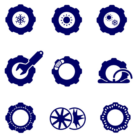 vulcanization: Car parts such as tires and wheels icons set