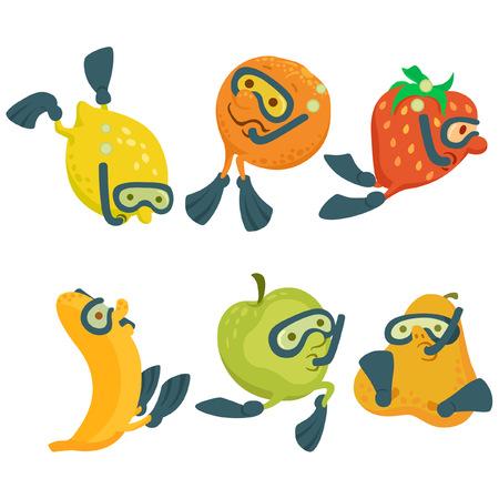flippers: Frutas en el buceo estilo de dibujos animados