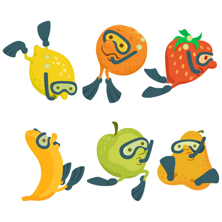 Fruits in cartoon style diving Illustration