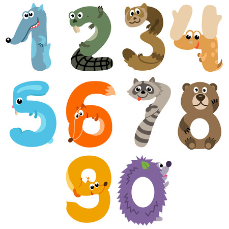 Numbers like European Forest Animals Illustration
