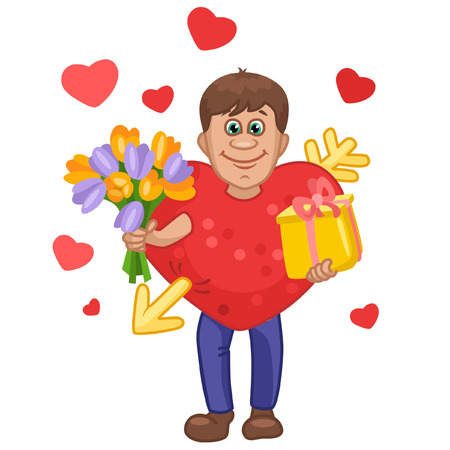 Man in a heart suit with flowers and gift in hands Illustration