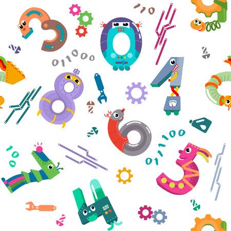 Numbers like robots seamless pattern