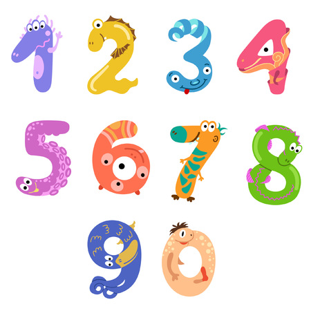 Numbers like monsters in cartoon style Illustration