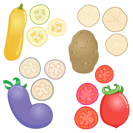 Vegetables whole and sliced into pieces Illustration