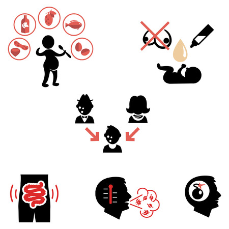 allergies: Causes of allergies as flat icons Illustration