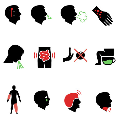 disturbance: Symptoms of allergy and other diseases as flat icons Illustration