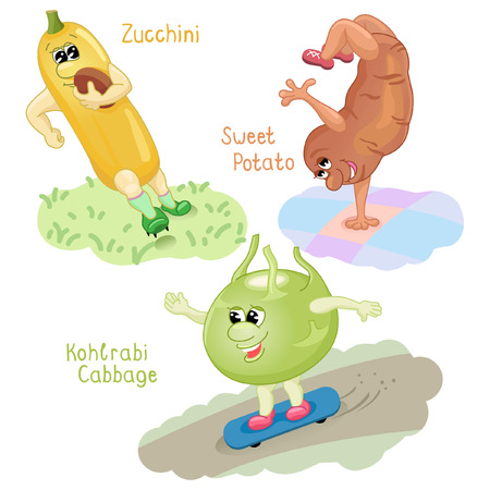 engaging: Zuccini, sweet potato and kohlrabi cabbage are engaging in sports