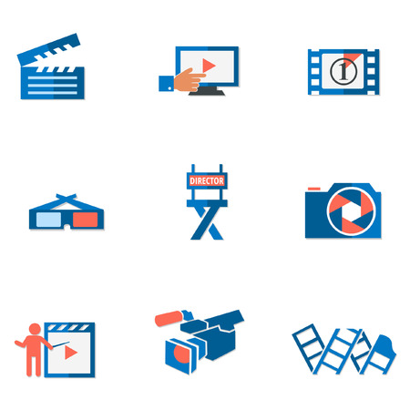preview: Video and photo tricolor flat icons Illustration