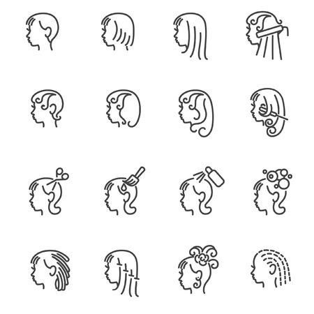 Icônes de services de coiffeur pour femmes en ligne Vecteurs