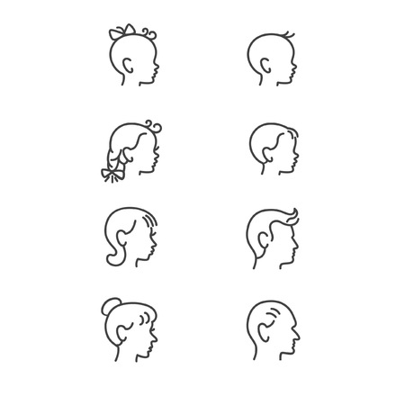 baby grand: Line icons of people heads in different ages