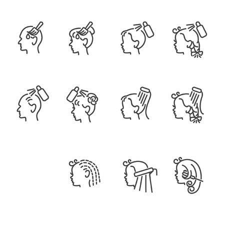Icons of barber services for elderly people and children Stock Illustratie