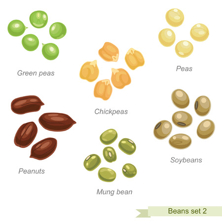 Beans and peas third icon set