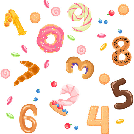kiddie: Numbers like sweets and buns seamless pattern