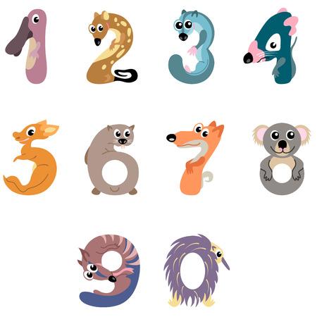 australian animals: Numbers like Australian animals
