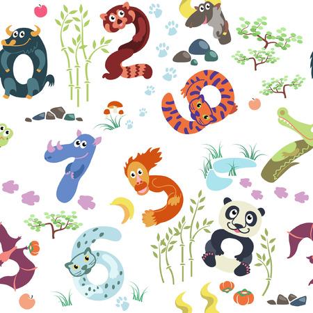 one panda: Numbers like Asian animals pattern Illustration