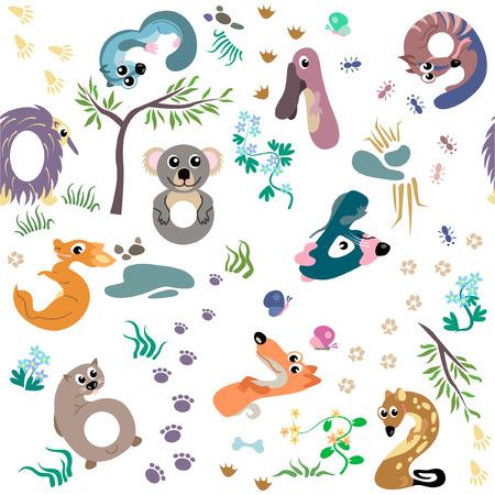 possum: Numbers like Australian animal seamless pattern
