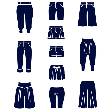 Icons of different types of women shorts