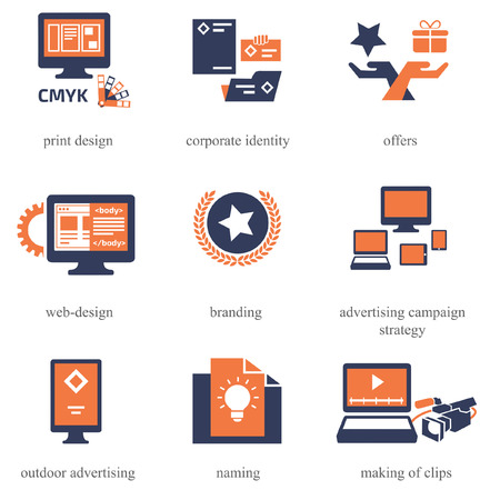 Icons set for Advertisement Company