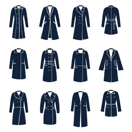 Different types of women coats Illustration