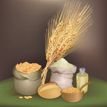 foodstuff: Illustration with wheat foodstuff
